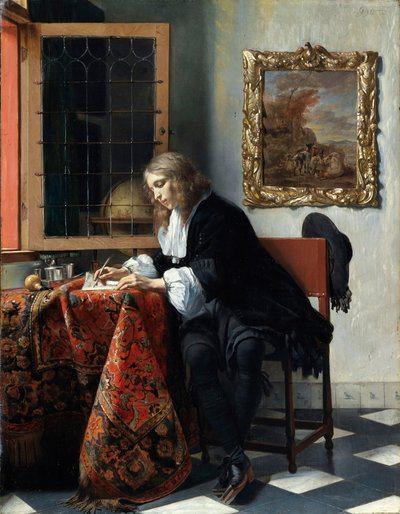 "Габриел Мецу Metsu's ""Маж што пишува писмо"", 1664, Национална галерија, Ирска"